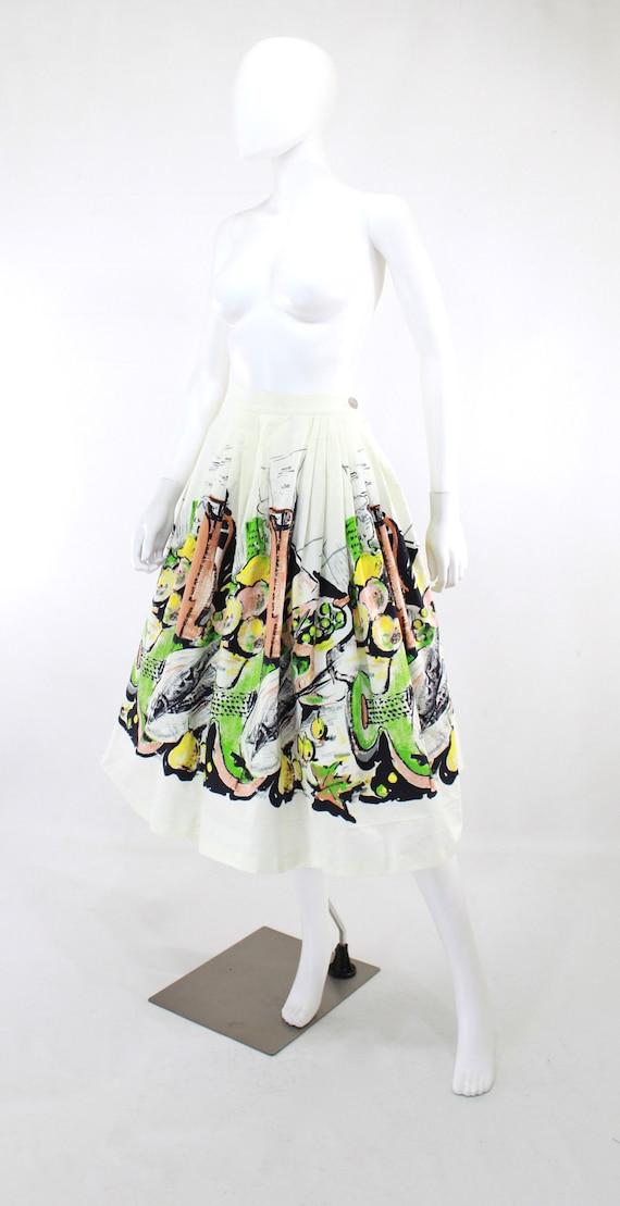 1950s Feast Novelty Print Skirt - 1950s Italian F… - image 2