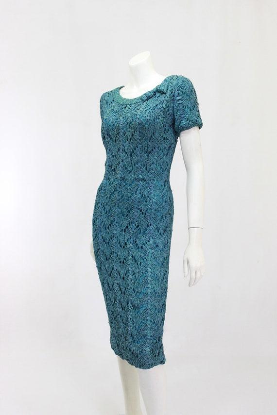 1950s Wiggle Dress - 1950s Teal Dress - 1950s Rib… - image 4