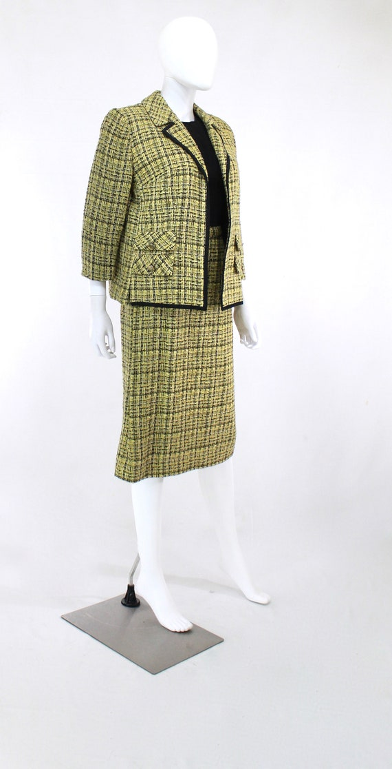 1960s Chartreuse Wool Suit - 1960s Chartreuse Sui… - image 5