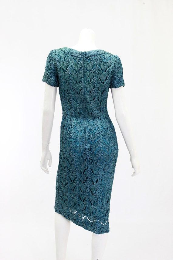 1950s Wiggle Dress - 1950s Teal Dress - 1950s Rib… - image 7