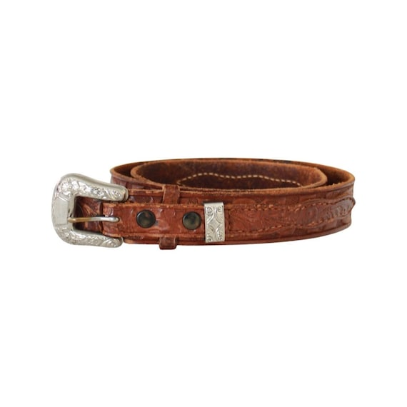 1940s/50s Tooled Leather Belt - 1950s Leather Bel… - image 1