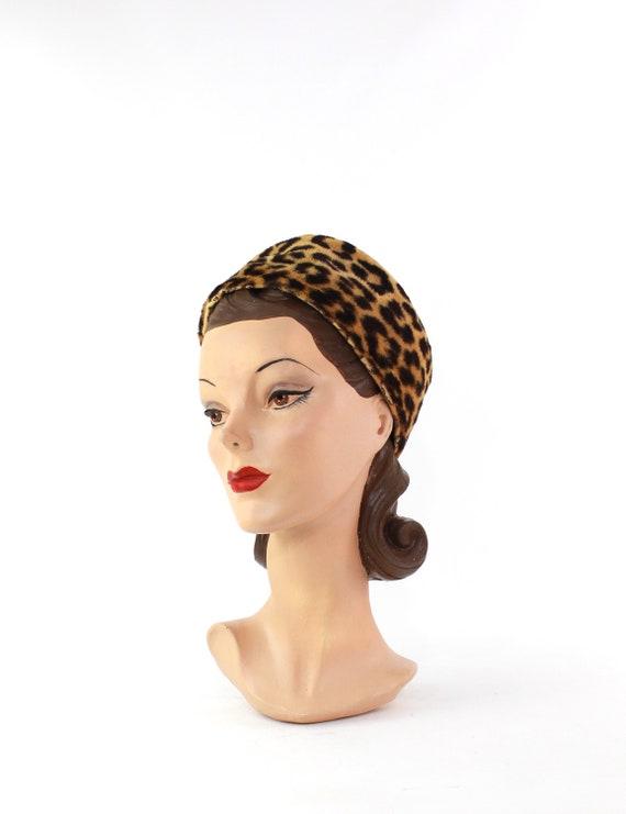 1960s Leopard Print Toque Hat - 1960s Leopard Pri… - image 3