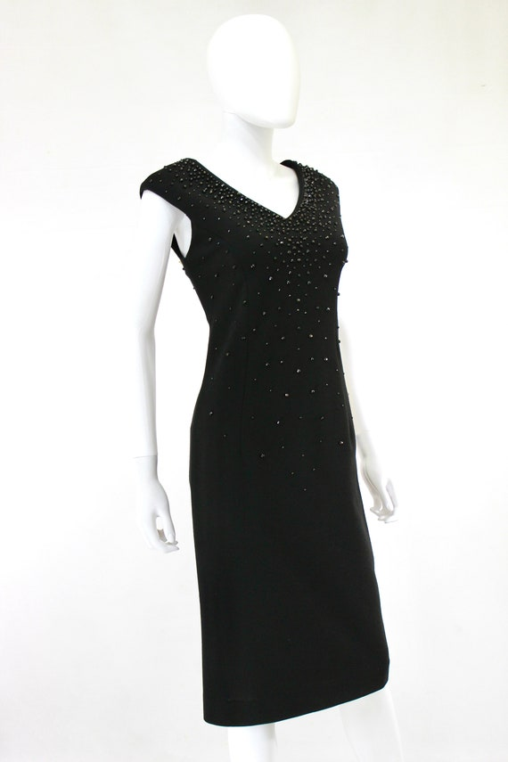 1950s Black Wiggle Dress - 1950s Studded Dress - … - image 6