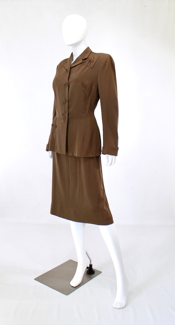 RESERVED | 1940s Womens Brown Suit - 1940s Brown … - image 6