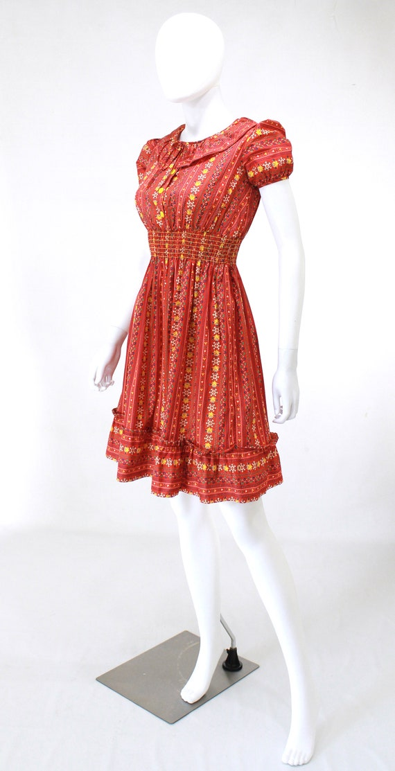 DEADSTOCK 1940s Puff Sleeve Dress - 40s Cotton Dr… - image 5