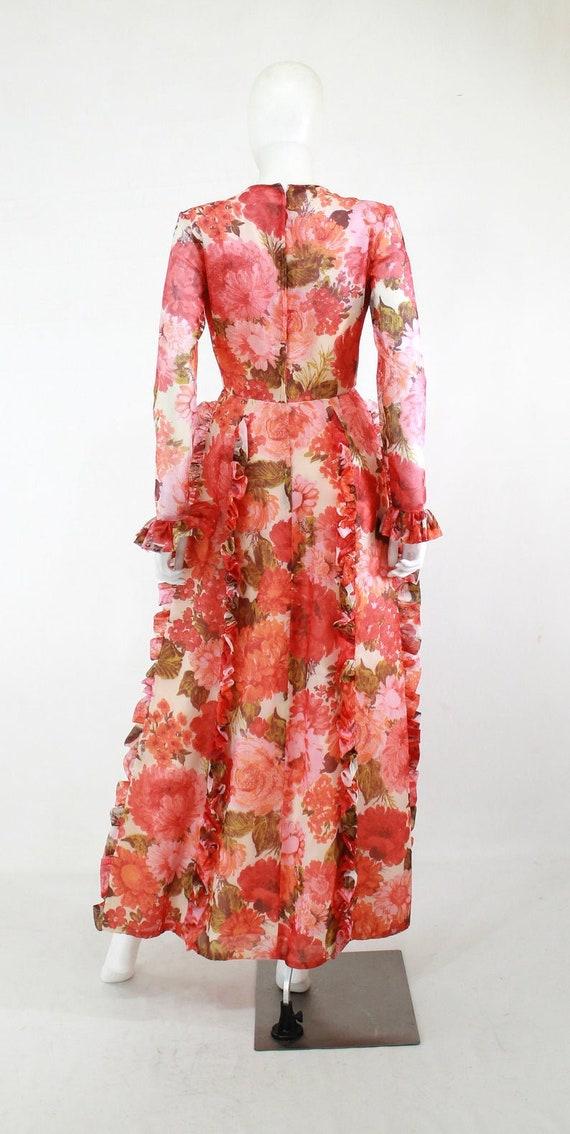 1970s Rose Print Ruffle Maxi Dress - 1970s Rose P… - image 10
