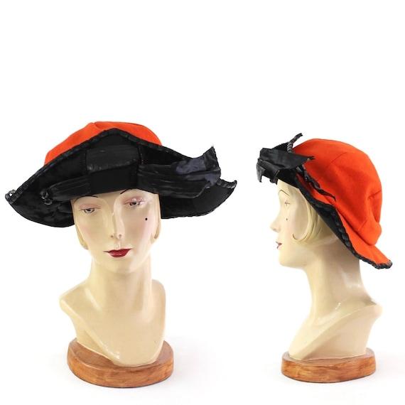 RARE Early 1920s Orange & Black Bicorn Hat - 1920s