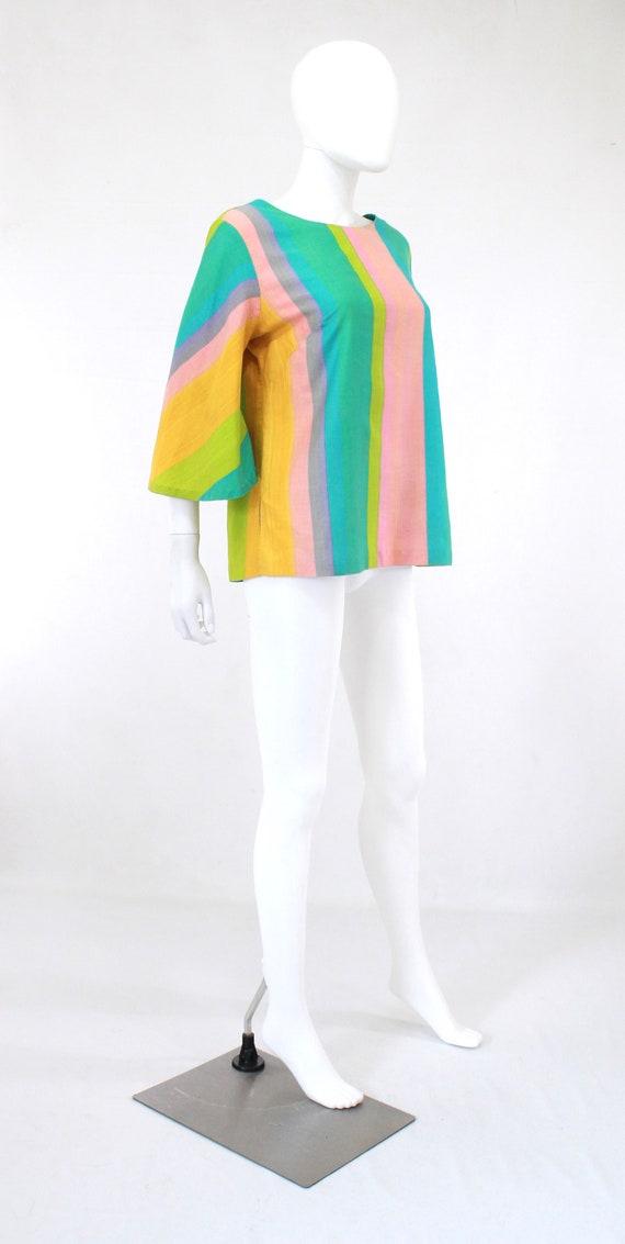 1960s Rainbow Tunic Blouse - 1960s Angel Sleeves … - image 6