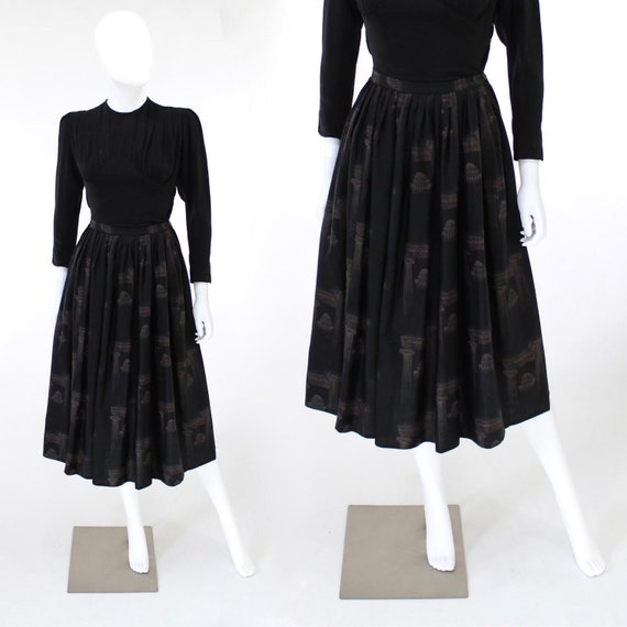 1950s Greco Roman Novelty Print Skirt - 1950s Gre… - image 1