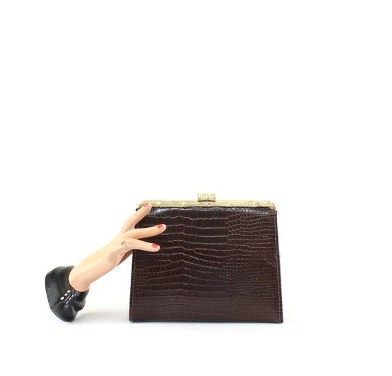 1940s Dark Brown Faux Lizard Leather Clutch - 1940