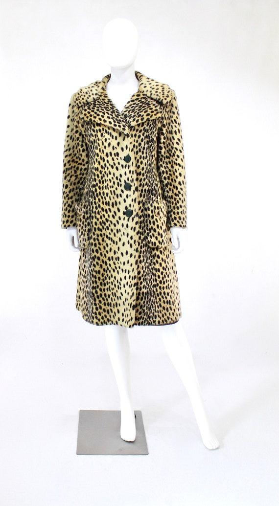 1960s Leopard Print Faux Fur Coat - Vintage Leopa… - image 2
