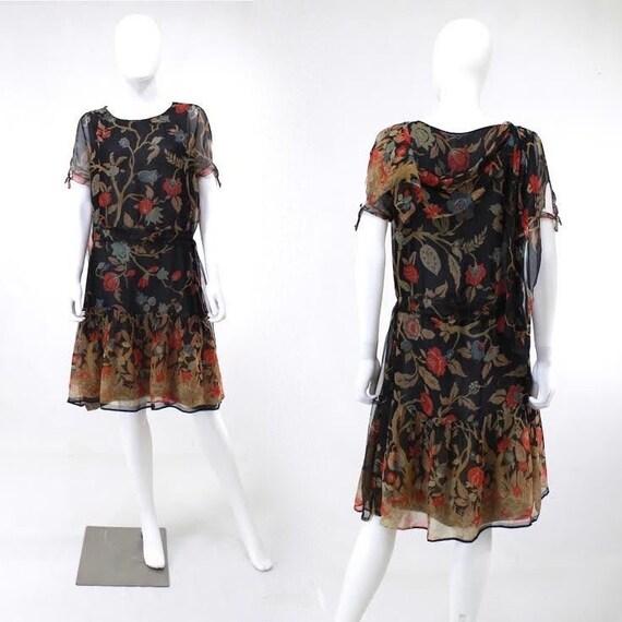 1920s Deco Silk Dress - 1920s Afternoon Dress - 19