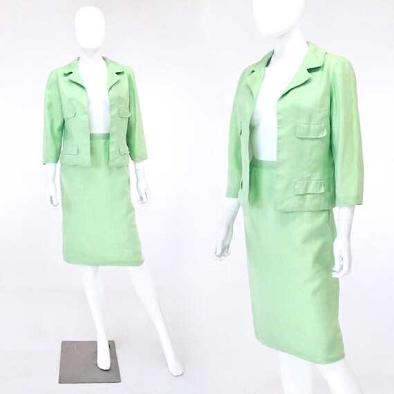 1950s Celadon Green Suit - 1950s Summer Suit - 50s