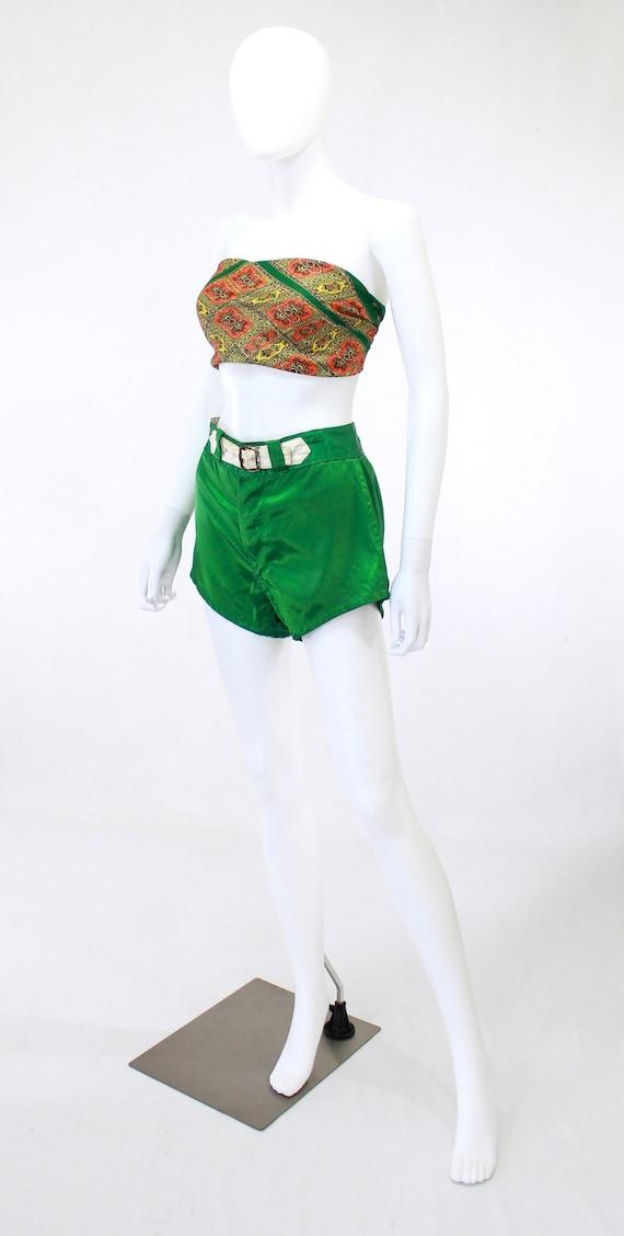 1940s Satin Shorts - 1940s Green Satin Shorts - 1… - image 9