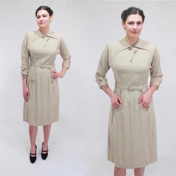 1940s Gabardine Dress - 40s Gab Dress - 1940s Beig