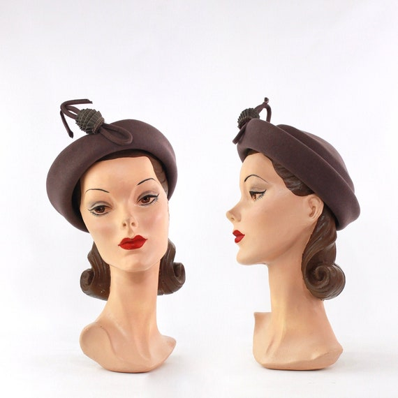 1940s Heather Gray Hat - 1940s Dove Gray Hat - Vin