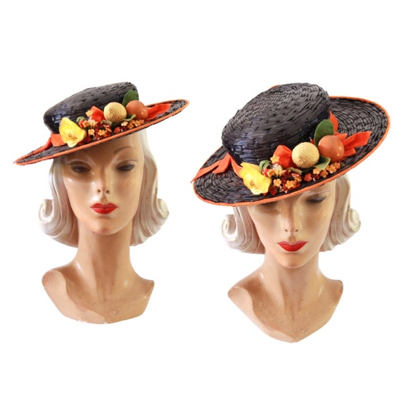 1940s Autumn Boater Hat - 1940s Navy Blue Hat - 1… - image 1