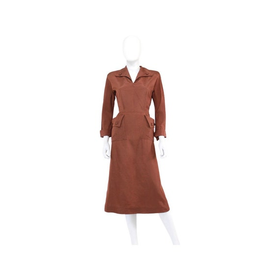 1940s Chestnut Brown Day Dress - 1940s Brown Dres… - image 3