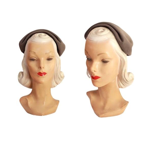 Early 1950s Gray Half Hat - 1950s Gray Calot - 195