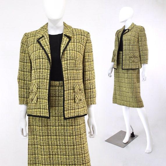 1960s Chartreuse Wool Suit - 1960s Chartreuse Suit