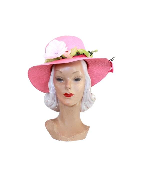 1960s Pink Straw Sun Hat - Vintage Pink Sun Hat -… - image 1