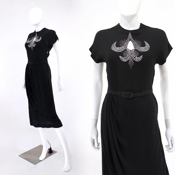 1940s Black Dress - 40s LBD - Black Crepe Cocktail