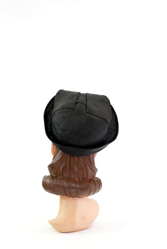 1930s Black Straw Shell Cap - 1930s Halo Hat - 19… - image 9
