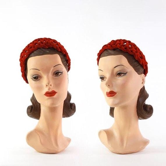 1950s Velvet Crown - 1950s Red Velvet Crown - 1950
