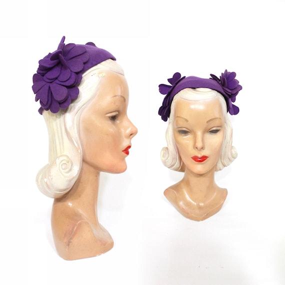 1930s Purple Flower Cap Hat - 1930s Purple Hat - 1