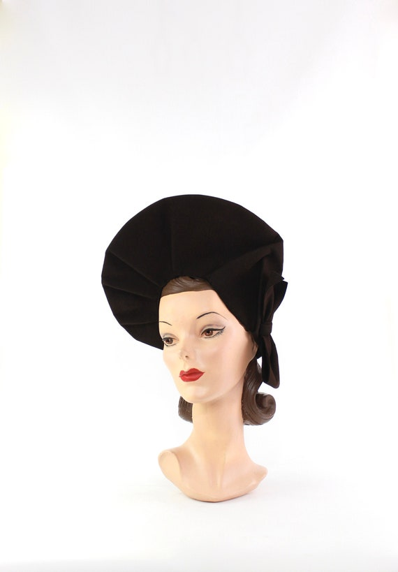 1940s Large Dark Brown Halo Hat - 1940s Halo Hat -