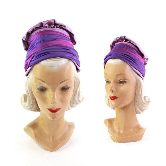 1960s Shades of Purple Turban Hat - Vintage Purple