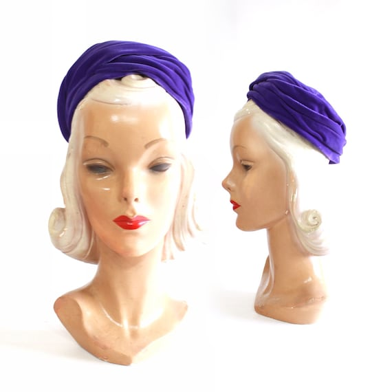 1960s Purple Pillbox - 1960s Purple Hat - Vintage… - image 1