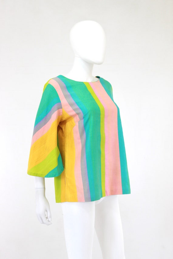 1960s Rainbow Tunic Blouse - 1960s Angel Sleeves … - image 7