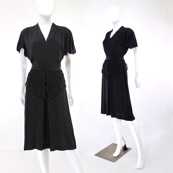 1940s Black Lattice Peplum Cocktail Dress - 1940s