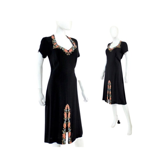 1940s Beaded Cocktail Dress - 1940s Cocktail Dres… - image 1