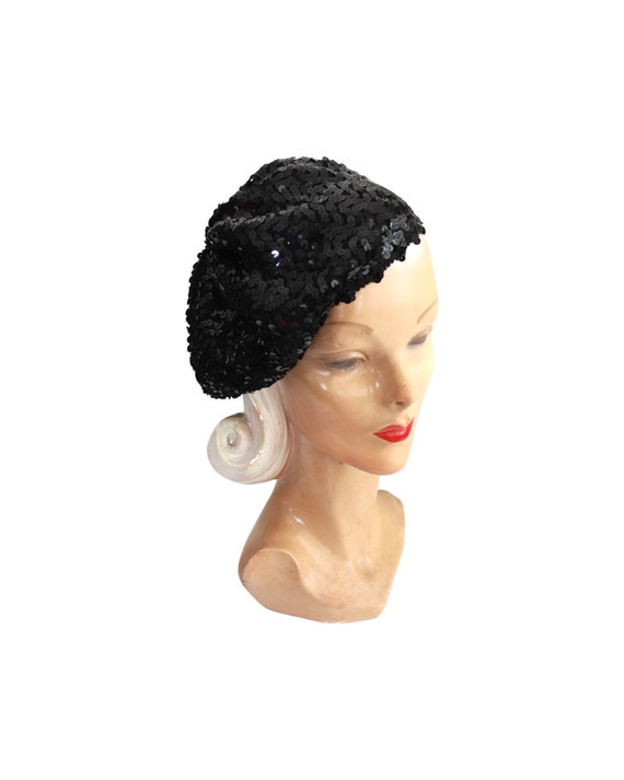 1970s Sequin Slouch Beret - 1970s Black Sequin Be… - image 3