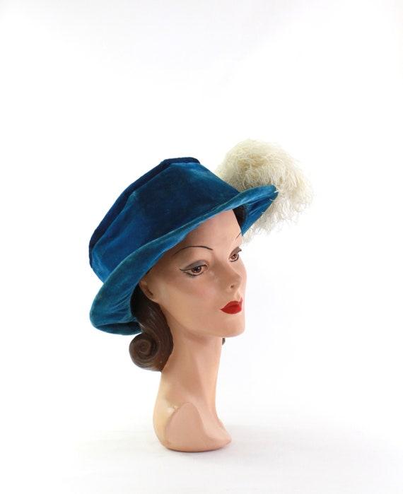 Edwardian Cerulean Blue Hat - Edwardian Velvet Ha… - image 7