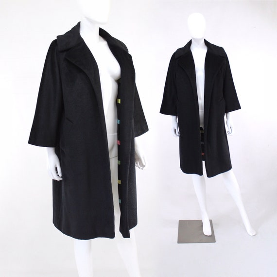1960s Lilli Ann Black Mohair Winter Coat - 1960 Li