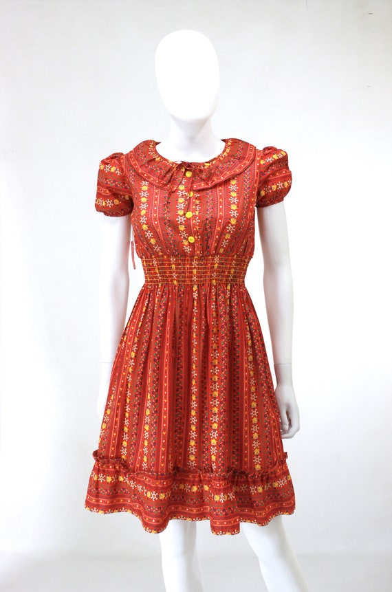 DEADSTOCK 1940s Puff Sleeve Dress - 40s Cotton Dr… - image 7