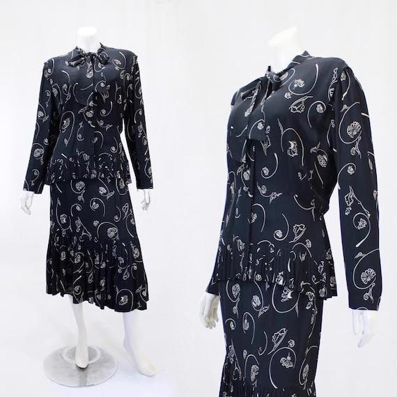 1940s Novelty Print Suit - 1940s Rayon Suit - 1940