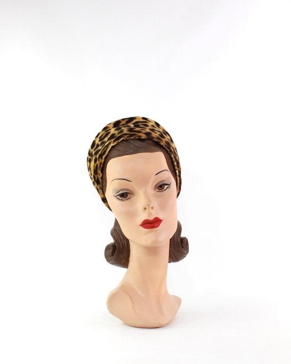 1960s Leopard Print Toque Hat - 1960s Leopard Pri… - image 2
