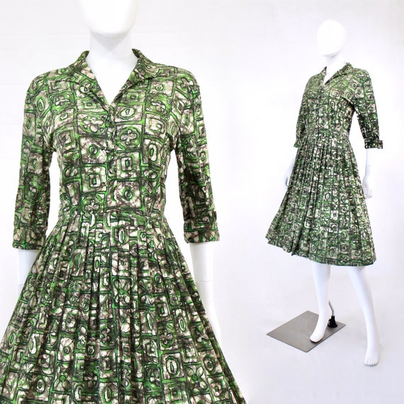 1950s Green X & O Print Shirtwaist Day Dress - 50s