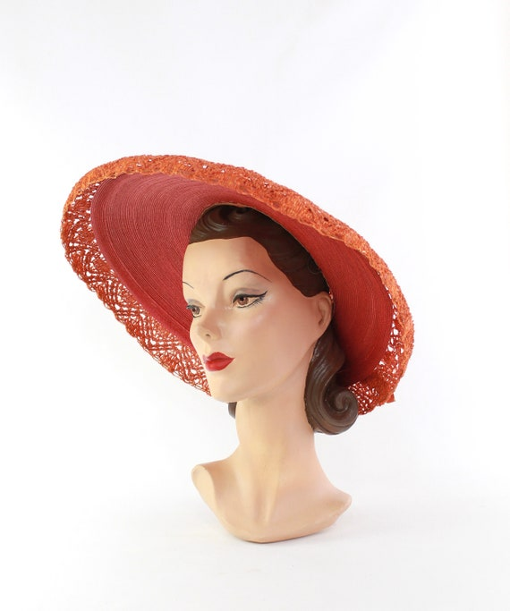 RESERVED | 1940s Red Platter Sun Hat - 1940s Oran… - image 7
