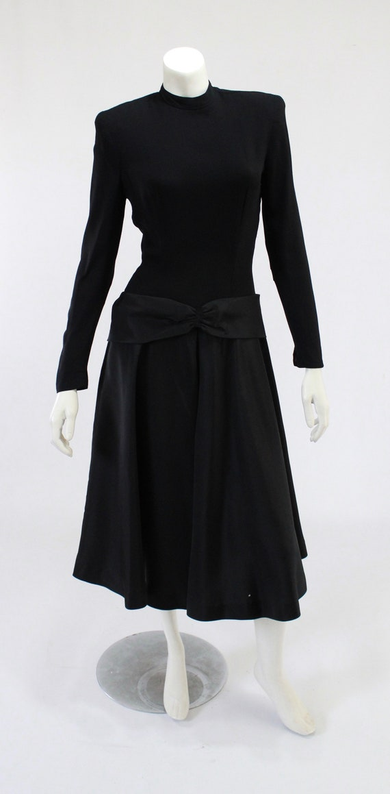 1940s LBD - 1940s Cocktail Dress - 1940s Black Dr… - image 2
