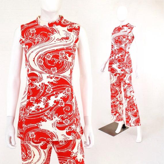 1960s Wave Novelty Print Pant Suit - 1960s Honeym… - image 1