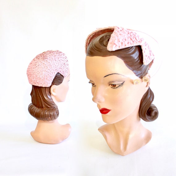 1950s Pink Sequin Cocktail Hat - Vintage Pink Cock