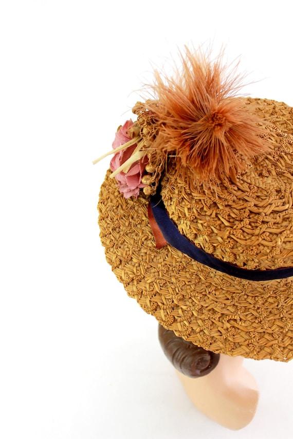 RESERVED | 1940s  Straw Tilt Hat - 1940s Autumn T… - image 5