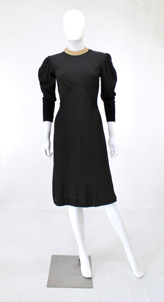Late 1930s Black Crepe Dress with Pearl Collar - … - image 2