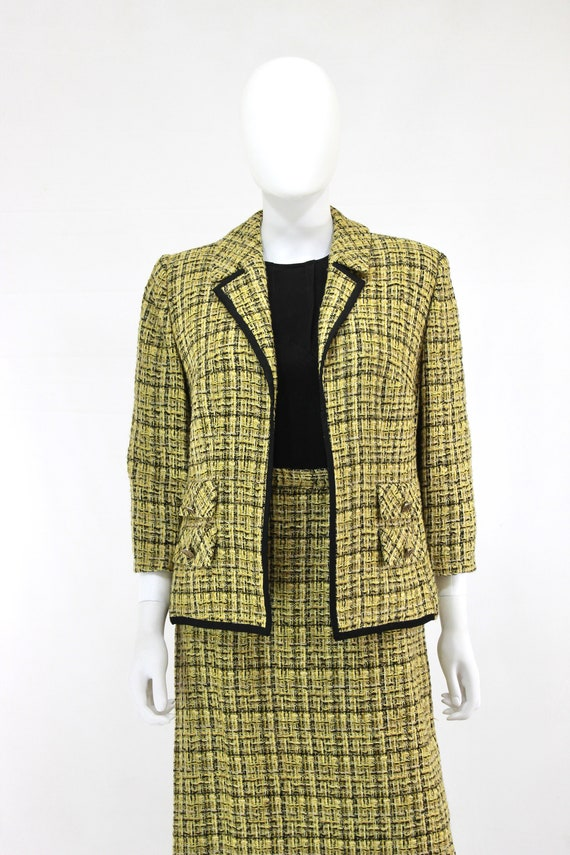 1960s Chartreuse Wool Suit - 1960s Chartreuse Sui… - image 4