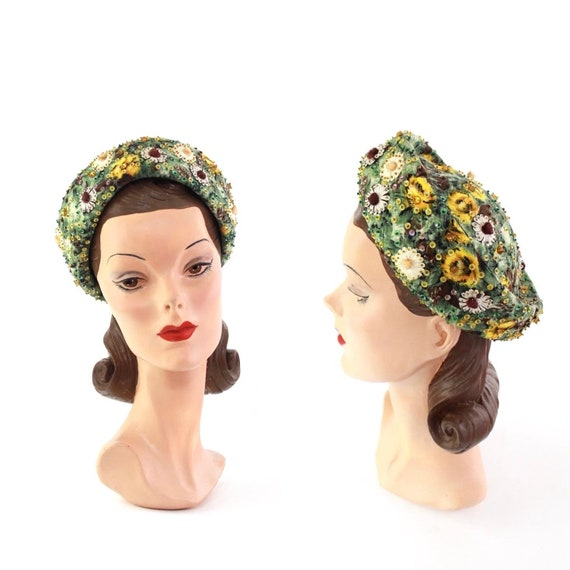1950s Floral Pillbox Hat - 1950s Green Pillbox Hat